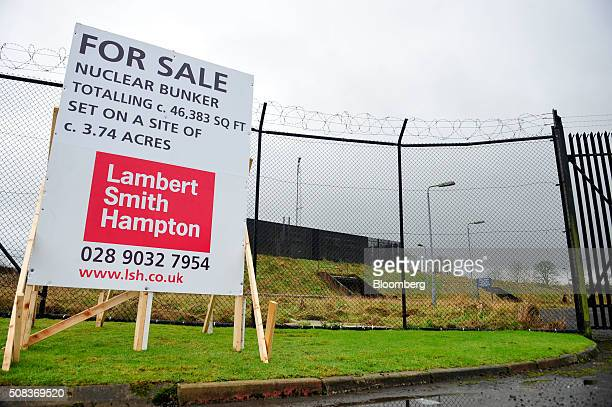 A sale sign stands outside a former regional government nuclear bunker in Ballymena UK on Thursday Feb 4 2016 The property that was opened in 1990...