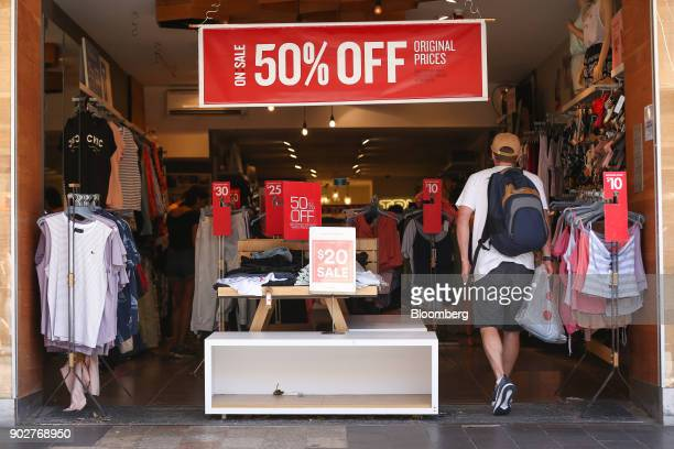 Sale signs are displayed inside a Cotton On clothing store in the Manly Corso retail area in Sydney Australia on Friday Jan 5 2018 The Australian...