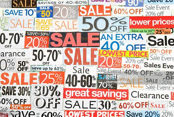 sale signs, newspaper and flyers clippings - i - coupon stock pictures, royalty-free photos & images