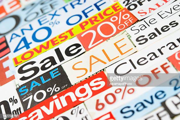 Sale signs, newspaper and flyers clippings - V