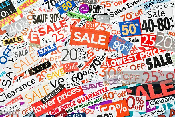 sale signs, newspaper and flyers clippings - xviii - coupon stock photos and pictures