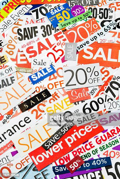 sale signs, newspaper and flyers clippings - xxi - dollar sign key stock photos and pictures