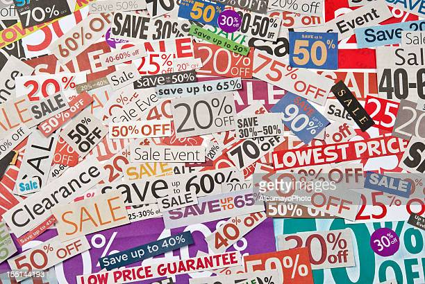 sale signs, newspaper and flyers clippings - xxvii - coupon stock photos and pictures