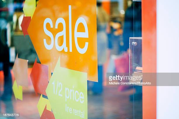 Sale signs on shop window
