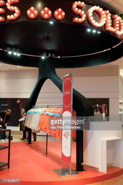 A sale stand at Galeries Lafayette on June 26 2013 in Paris France