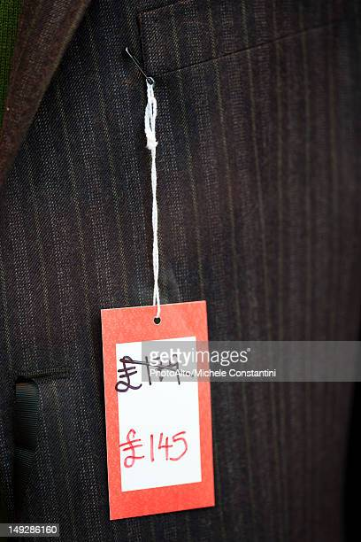 Sale tag on clothing
