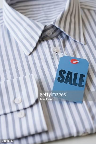 Sale tag on men's shirt