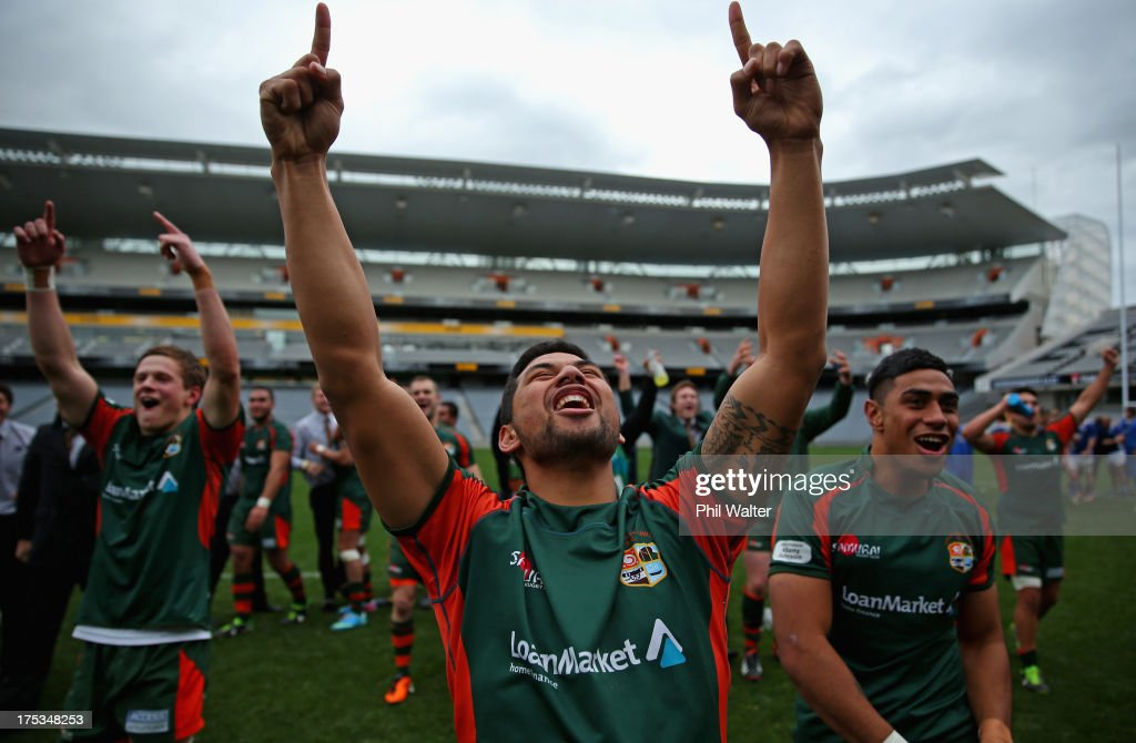 Saleaula Silipa of Pakuranga celebrates following the Gallaher Shield Final match between Pakuranga and University at Eden Park on August 3, 2013 in Auckland, New Zealand.