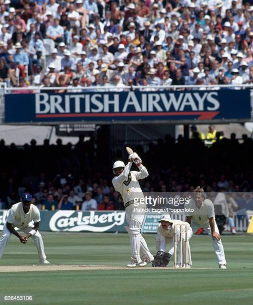 Saleem Malik batting for Pakistan during the 2nd Test match between England and Pakistan at Lord's Cricket Ground London 20th June 1992 The fielders...