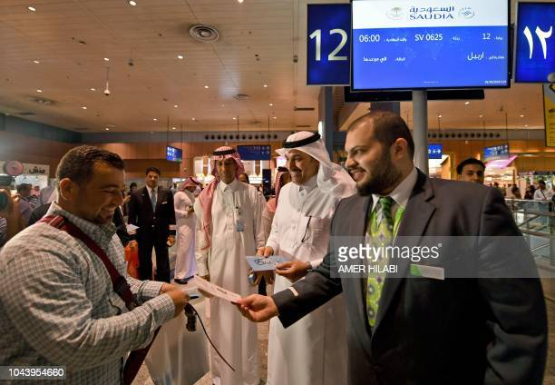 Saleh AlJassem the General Director of the Saudi Airlines inaugurates the first direct flight to the Iraqi city of Arbil at the Jeddah airport on...