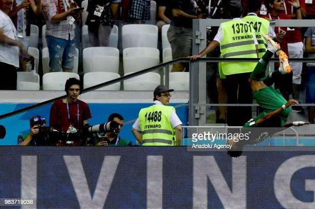Salem Al Dawsari of Saudi Arabia celebrates after scoring a goal during the 2018 FIFA World Cup Russia Group A match between Saudi Arabia and Egypt...