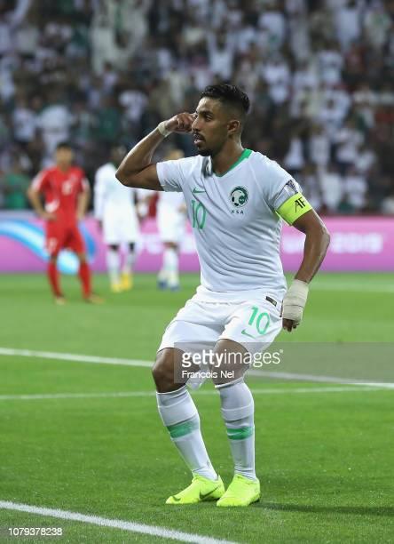 Salem AL Dawsari of Saudi Arabia celebrates after scoring his teams third goal during the AFC Asian Cup Group E match between Saudi Arabia and North...