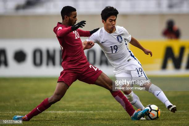 Salem Al Hajri of Qatar fights for the ball with Kuk TaeJeong of South Korea during the AFC U23 Championship China 2018 3rd/4th Place match between...