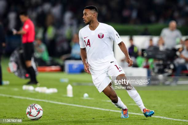 Salem Al Hajri of Qatar in action during the AFC Asian Cup final match between Japan and Qatar at Zayed Sports City Stadium on February 01 2019 in...
