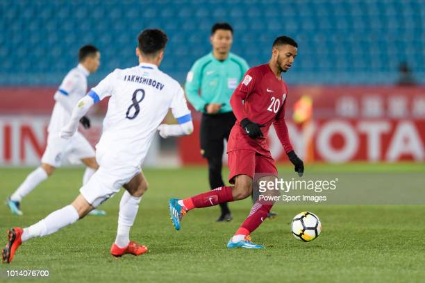 Salem Al Hajri of Qatar in action during the AFC U23 Championship China 2018 Group A match between Qatar and Uzbekistan at Changzhou Olympic Sports...