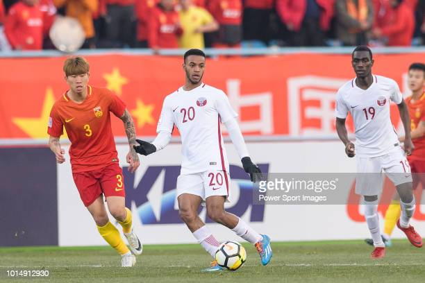 Salem Al Hajri of Qatar in action during the AFC U23 Championship China 2018 Group A match between China and Qatar at Changzhou Olympic Sports Centre...