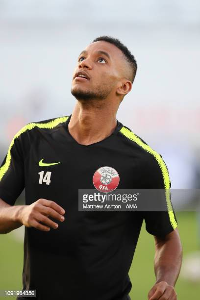 Salem Al Hajri of Qatar warms up prior to the AFC Asian Cup final match between Japan and Qatar at Zayed Sports City Stadium on February 1 2019 in...