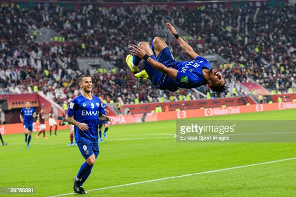 Salem Aldawsari of Al Hilal celebrates his goal during the FIFA Club World Cup SemiFinal match between CR Flamengo and Al Hilal FC at Khalifa...