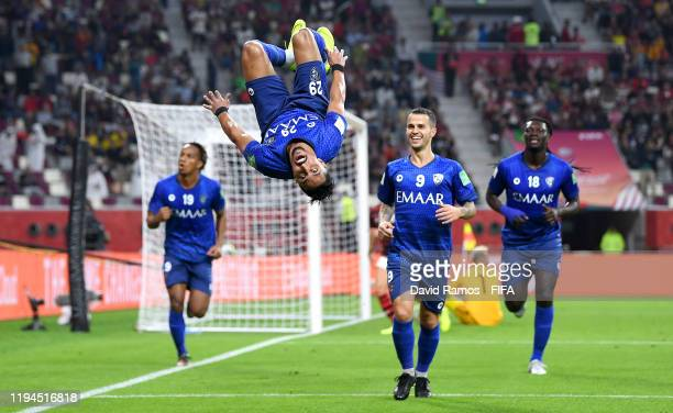 Salem Aldawsari of Al Hilal SFC celebrates after scoring his team's first goal during the FIFA Club World Cup semi-final match between CR Flamengo...
