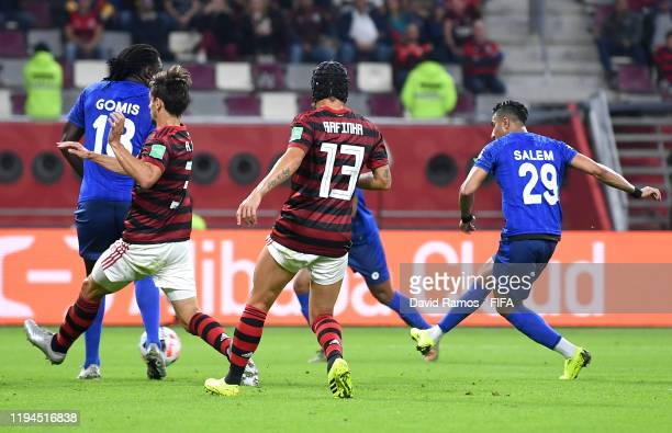 Salem Aldawsari of Al Hilal SFC scores his team's first goal during the FIFA Club World Cup semi-final match between CR Flamengo and Al Hilal FC at...