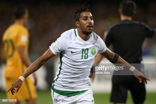 Salem Aldawsari of Saudi Arabia celebrates a goal during the 2018 FIFA World Cup Qualifier match between the Australian Socceroos and Saudi Arabia at...