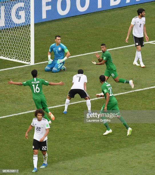 Salem Aldawsari of Saudi Arabia celebrates after scoring his team's second goal during the 2018 FIFA World Cup Russia group A match between Saudia...