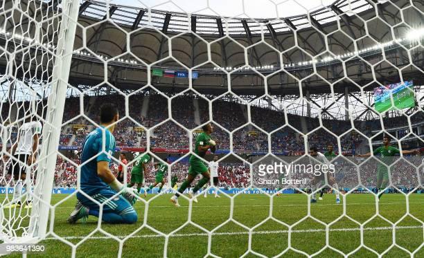 Salem Aldawsari of Saudi Arabia celebrates after scoring his team's second goal during the 2018 FIFA World Cup Russia group A match between Saudia...