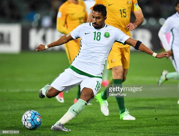 Salem Aldawsari of Saudi Arabia kicks the ball during the 2018 FIFA World Cup Qualifier match between the Australian Socceroos and Saudi Arabia at...