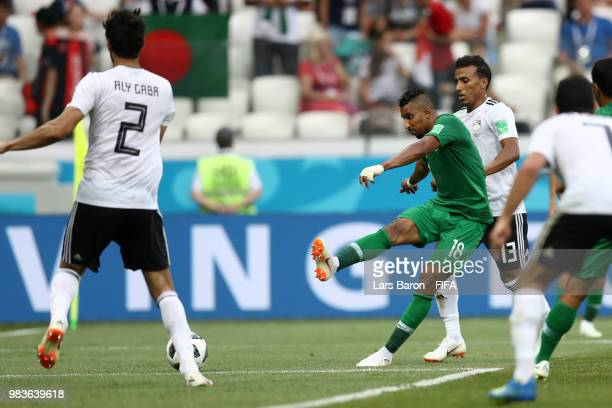 Salem Aldawsari of Saudi Arabia scores his team's second goal during the 2018 FIFA World Cup Russia group A match between Saudia Arabia and Egypt at...