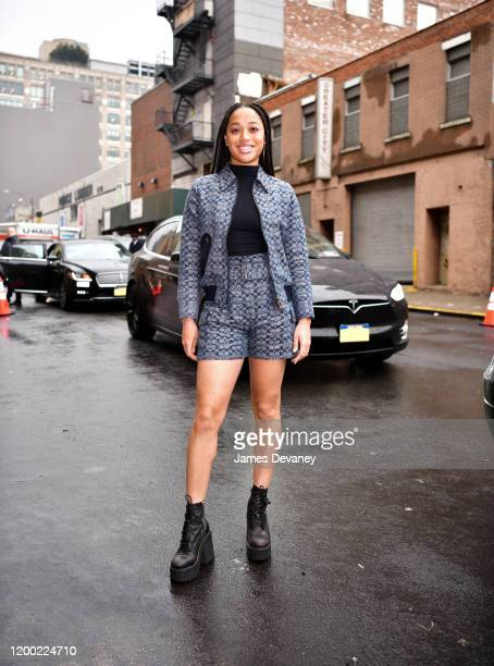 Salem Mitchell arrives at Coach 1941 fashion show in Midtown West on February 11, 2020 in New York City.