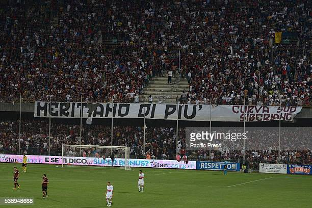 ARECHI SALERNO CAMPANIA ITALY Salernitana fans in the Arechi Stadium expose a banner and dozens of leaflets that reads 'deserve more' to protest...