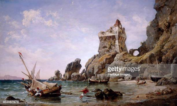 Salerno Italy 1849 A coastal scene in Salerno Italy with figures probably fishermen pulling a boat ashore Other boats are moored in the cove with a...
