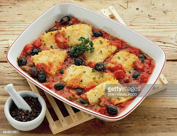 Salernostyle salt cod with tomatoes capers and black olives
