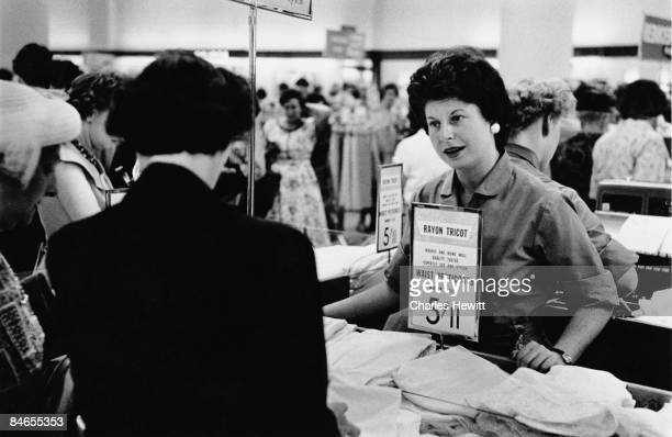 A sales assistant in the lingerie department of a Marks Spencer's store in Newcastle upon Tyne 10th September 1955 Original Publication Picture Post...