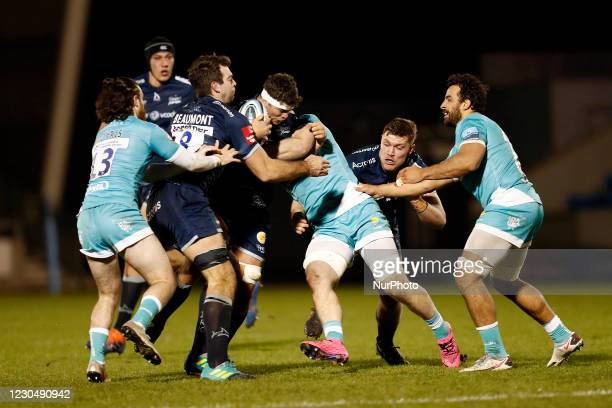 Sales Jono Ross charges forward during the Gallagher Premiership match between Sale Sharks and Worcester Warriors at AJ Bell Stadium, Eccles on...