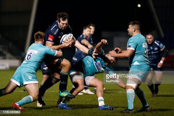 Sales Josh Beaumont is challenged by Worchesters Ted Hill during the Gallagher Premiership match between Sale Sharks and Worcester Warriors at AJ...
