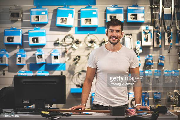 Sales person in bicycle store