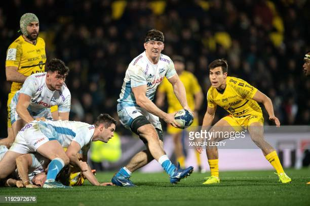Sales' Ross Harrison moves with the ball during the European Rugby Champions Cup match between La Rochelle and Sale Sharks at the Marcel Deflandre...