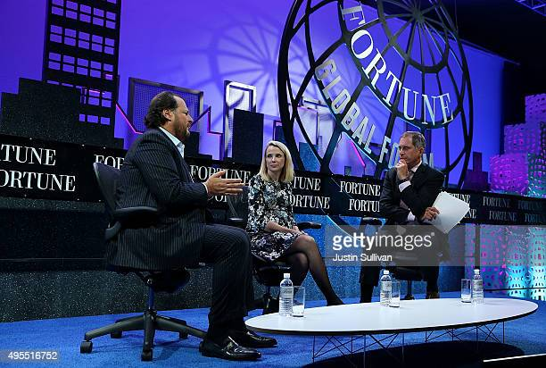 Salesfoce chairman and CEO Marc Benioff and Yahoo president and CEO Marissa Mayer talk with Adam Lashinsky of Fortune Magazine during the Fortune...