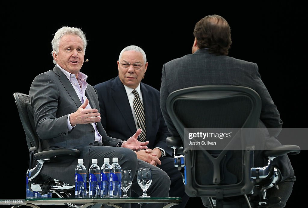 Salesforce CEO Marc Benioff (R) and former Secretary of State Gen. Colin Powell (C) look on as General Electric CEO Jeff Immelt (L) speaks during the Dreamforce 2012 conference at the Moscone Center on September 20, 2012 in San Francisco, California. A reported 90,000 people registered to attend the cloud computing industry conference Dreamforce 2012 that runs through September 21.
