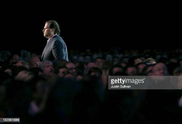 Salesforce CEO Marc Benioff delivers the keynote address during the Dreamforce 2012 conference at the Moscone Center on September 19 2012 in San...
