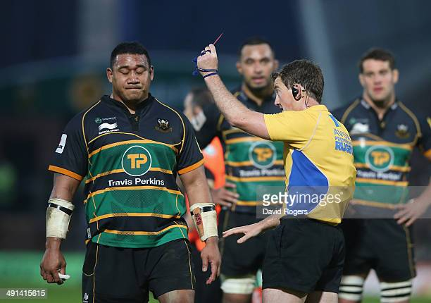 Salesi Ma'afu of Northampton is shown the red card by referee JP Doyle after fighting with Leicester hooker Tom Youngs during the Aviva Premiership...