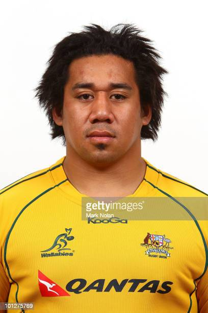 Salesi Ma'afu poses for a photo during the Wallabies squad Headshots at the Crowne Plaza at Crown Plaza Coogee on May 30 2010 in Sydney Australia