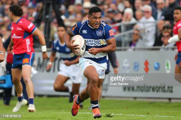Salesi Rayasi makes a break during the Mitre 10 Cup Premiership Semi Finals match between Tasman and Auckland at Lansdowne Park on October 19 2019 in...