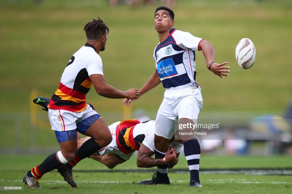Salesi Rayasi of Auckland charges forward during the Bayleys National Sevens qaurter final cup match between Waikato and Auckland at Rotorua International Stadium on January 14, 2018 in Rotorua, New Zealand.