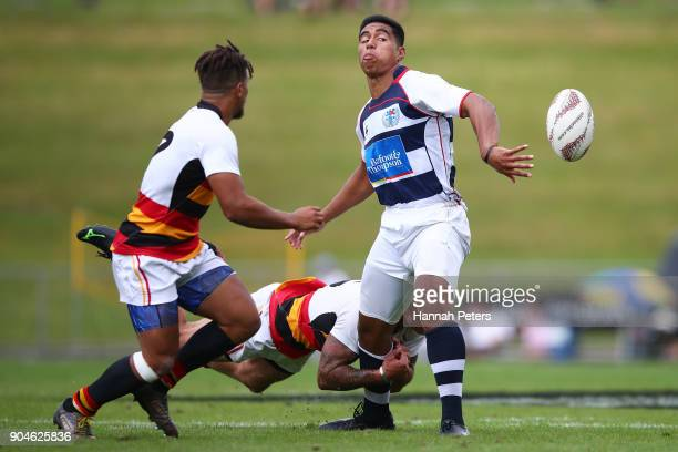 Salesi Rayasi of Auckland charges forward during the Bayleys National Sevens qaurter final cup match between Waikato and Auckland at Rotorua...
