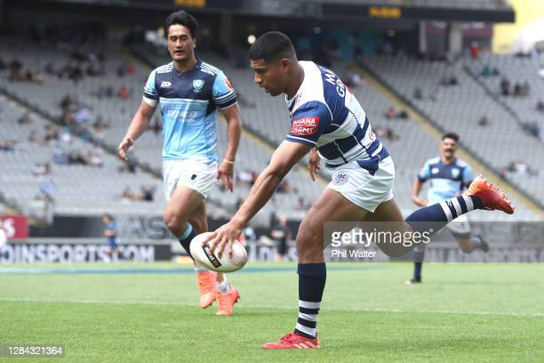 Salesi Rayasi of Auckland scores a try during the round 9 Mitre 10 Cup match between Auckland and Northland at Eden Park on November 07, 2020 in...