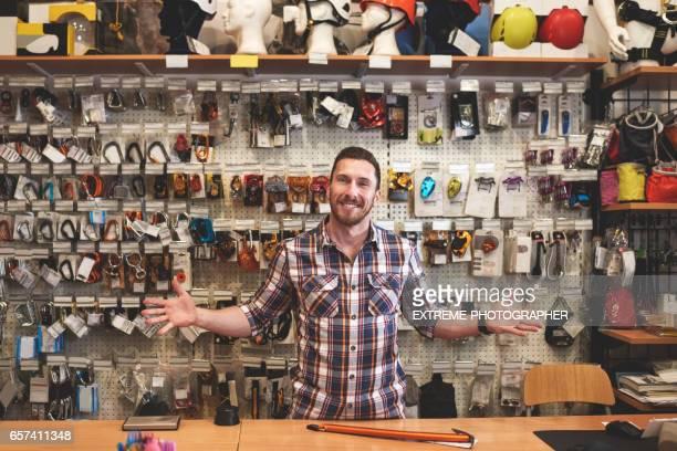 Salesman in sports store