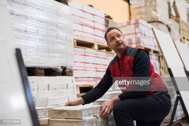 Salesman looking away while arranging packages in hardware store