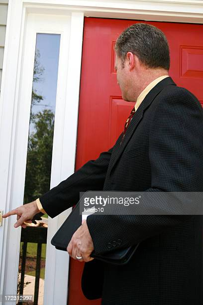 salesman - ringing doorbell stock pictures, royalty-free photos & images